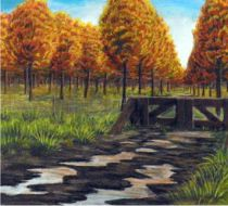 Golden trees. fantasie landschap tekening.